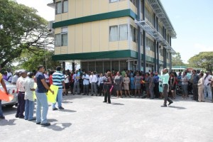 FLASH BACK: University of Guyana workers protesting in January, 2015 for increased wages and salaries. To date, the dispute remains unresolved.