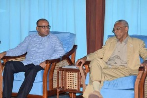 FLASH BACK: Opposition Leader, Bharrat Jagdeo meeting with President David Granger.