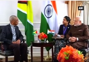 President David Granger and the Prime Minister of India, Narendra Modi meeting in New York in September, 2015.