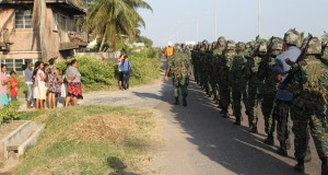 Residents turned out on the East Coast Demerara to see the soldiers march from Better Hope to Georgetown.