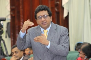 The PPPC's Shadow Attorney General and Minister of Legal Affairs makes a point in the National Assembly