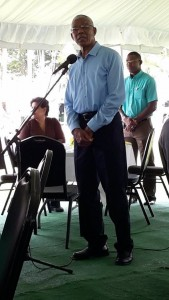 President David Granger addressing the media brunch on the lawns of State House on Sunday, January 3, 2015.