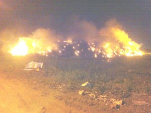 Fire at the Haags-Bosch Landfill. (Stabroek News photo)