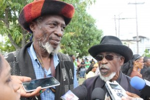 The Leader of the Healing The Nation Theocracy Party (HTNTP), Alfred Parks (left) and General Secretary, Leon Saul.