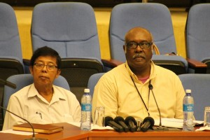 Incoming Chairman of the Guyana Geology and Mines Commission (GGMC), Stanley Ming and Acting GGMC Commissioner, Newell Dennison.
