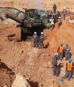 The burnt excavator at Rusal's bauxite mining operations at Kurubuku, Upper Berbice River.