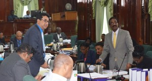 Former Attorney General and Minister of Legal Affairs, Anil Nandlall and current Attorney General and Minister of Legal Affairs, Basil Williams.