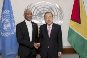 President David Granger (left) and United Nations Secretary General, Ban Ki Moon shaking hands.