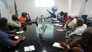 GWI Chief Executive speaking to stakeholders about the level of the East Demerara Water Conservancy.