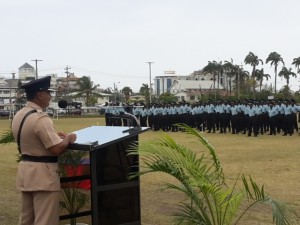 Assistant Commissioner of Police, David Ramnarine addressing the new batch of recruits at the Guyana Police Force's Sports Club Ground, Eve Leary.