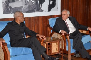 President David Granger and Secretary General of the Union of South American States (UNASUR) in discussion during the meeting at the Ministry of the Presidency