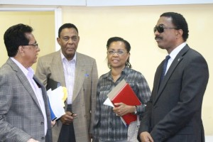 Left to Right: Senior Counsel, Seenath Jairam; Sir Richard Cheltenham; Queens Counsel, Jacqueline Samuels-Brown and Attorney General, Basil Williams at the Supreme Court Library Building where the Commissioners will be writing their report on the findings of the Walter Rodney Commission of Inquiry.