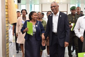 President David Granger and Minister of Social Protection Volda Lawrence