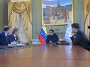 UN Assistant Secretary General on Political Affairs, Miroslav Jenca, and Guillermo Kendall of the Division of Political Affairs meeting with Venezuela's President, Nicolas Maduro.