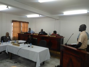 Basil Morgan giving his testimony at the Commission