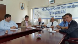 Left to Right: Charge D'Affaires of the US Embassy, Bryan Hunt; Britain's High Commissioner to Guyana, Greg Quinn;  Public Relations Officer of the Private Sector Commission (PSC), Kit Nascimento; PSC Chairman, Norman Mc Lean; Chairman of the PSC's Governance and Security Committee, Gerry Gouveia and Head of AId at the Canadian High Commission, David Joly at the joint news conference held at the PSC's headquarters.