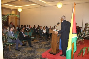 President David Granger addressing the 126th Annual General Meeting of the Georgetown Chamber of Commerce and Industry.