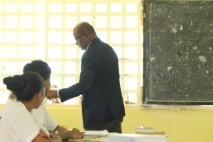 Opposition Leader, Bharrat Jagdeo casting his ballot at St. John's College, Waterloo Street, Georgetown.