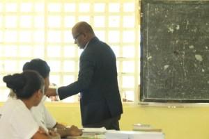 Opposition Leader, Bharrat Jagdeo casting his ballot at St. John's College, Waterloo Street, Georgetown.