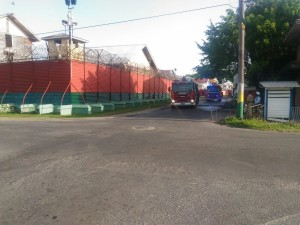Fire tenders outside the Georgetown Prison Friday morning.