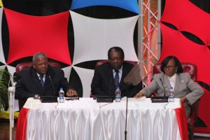 Opposition leader Baldwin Spencer, CCJ President Sir Dennis Byron and High Court judge Pearletta Lanns at Antigua and Barbuda's launch of the public education campaign in favour of that island joining the Caribbean Court of Justice.