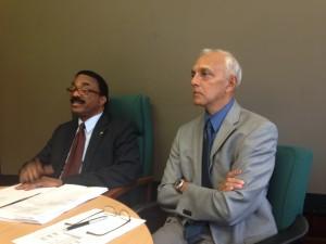 Attorney General Basil Williams and Communities Minister Ronald Bulkan