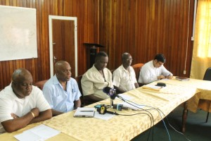 Representatives of GTUC and FITUG at a joint news conference at the GTUC's Headquarters, Woolford Avenue, Georgetown.