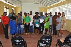 First Lady, Sandra Granger with Community Development Councils (CDC) members from Region Five who will be receiving grants