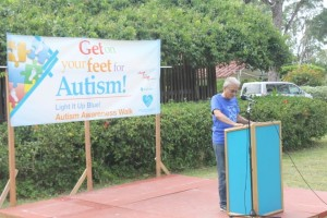 Minister of Education, Dr. Rupert Roopnaraine addressing the gathering after the Autism Awareness Walk.
