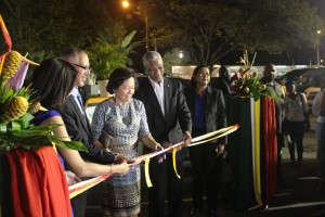 President David Granger and others officially declaring GuyExpo open