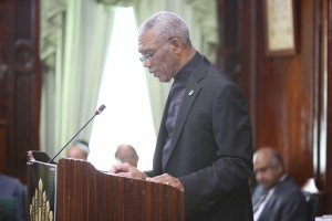 President David Granger addressing Parliament