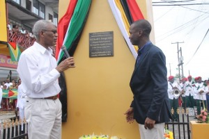President David Granger and Bartica Mayor, Gifford Marshall shortly after they unveiled a plaque to  officially declare Bartica a town.