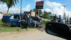 The car that was involved in the accident on the Richmond Village, Essequibo Coast.