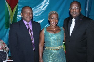 Director-General of Tourism, Donald Sinclair (left), St. Maarten's Prime Minister, William Marlin (right) and Mrs. Marlin.