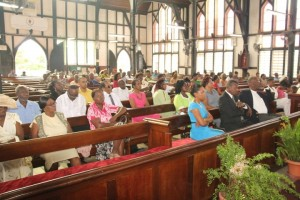 Congregants at the opening ceremony of the 145th Session of Synod for the Diocese of Guyana at St. George's Cathedral, Company Path, Georgetown.