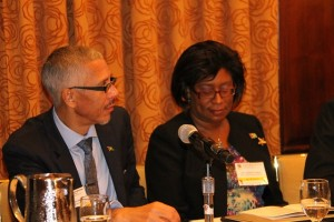 Minister of Business, Dominic Gaskin and Minister of Public Telecommunications, Catherine Hughes.