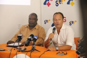 "Permanent Secretary of the Ministry of Public Telecommunications, Derrick Cummings (left) and GTT's  Commercial Officer, Gert Post at the launching of the company's ""Free Basic 4G Services"""