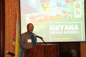 Professor Ivelaw Griffith addressing the Guyana Investment Conference.