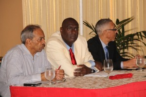 FILE PHOTO: (left to right) Chairman of the Private Sector Commission, Eddie Boyer; President of the Guyana Manufacturing and Services Association (GMSA), Eon Caesar and Minister of Business, Dominic Gaskin.
