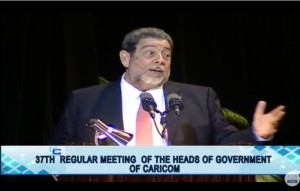 St. Vincent and the Grenadines Prime Minister, Ralph Gonsalves addressing the opening of the 37th regular Caricom Summit at Guyana's National Cultural Centre.