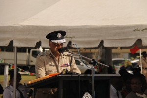 Police Commissioner, Seelall Persaud addressing the Guyana Police Force's annual awards ceremony at the Tactical Services Unit Drill Square, Eve Leary.