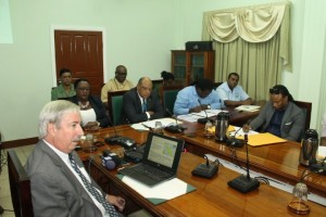 Country Manager for Esso Exploration and Production Guyana Limited (EEPGL)- ExxonMobil's local subsidiary- Jeff Simons (right) briefing Guyana's parliamentary committee on natural resources. At the head table are (left to right), Junior Minister of Natural Resources, Simona Broomes; Senior Minister of Natural Resources, Raphael Trotman, his Permanent Secretary, Joslyn Mc Kenzie and head of the Environmental Protection Agency (EPA), Dr. Indarjit Ramdass. Seated at the back are Commissioner of the Guyana Forestry Commission, James Singh and Commissioner of the Guyana Geology and Mines Commission, Newell Dennison.