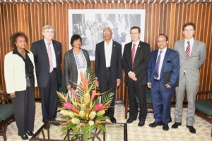 President David Granger (centre) is flanked by, from left to right: Ms. Khadija Musa, Resident Representative of the United Nations, Baron Marc Bossuyt, President Emeritus of the Constitutional Court  and Member of the United Nations Committee on the Elimination of Racial Discrimination, Ms. Navi Pillay, Former United Nations High Commissioner for Human Rights and Former Judge of the International Court of Justice; Mr. Ivan Simonovic, Assistant Secretary-General, Office of the High Commissioner for Human Rights, Mr. Rajiv Narayan, Senior Policy Adviser, Secretariat of the International Commission against the Death Penalty and Mr. Derek Lambe, Head of Political Press and Information Section, Delegation of the European Union in Guyana.