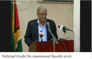 Minister of Education Dr. Rupert Roopnaraine announcing the 2016 National Grade Six Assessment Results om Tuesday, July 5, 2016.