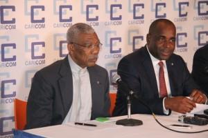 President David Granger (left) and Dominica's Prime Minister, Roosevelt Skeritt.