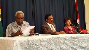 PNCR General Secretary, Oscar Clarke; partyu Chairman, Basil Williams and Assistant General Secretary, Amna Ally.