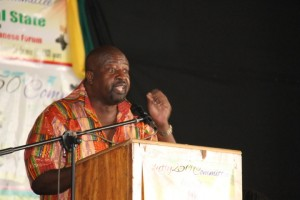 """Professor David Hinds addressing a plenary session on """"Socio-economic and Political Self-Realisation"""" at Cuffy250's Fourth State of the African Guyanese Forum"""