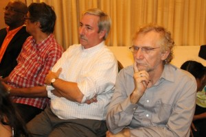 PPP-C activist and Geologist, Evans Persaud (plaid shirt) and officials of ExxonMobil.
