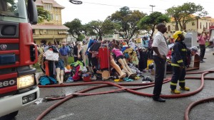 A large quantity of items removed from one of the stores that is housed in the building at the corner of Avenue of the Republic and America Street.