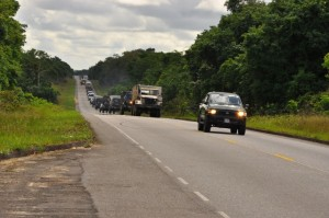 One section of the convoy on its way to Excercise HOMEGUARD (GDF photo)
